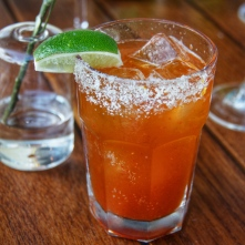 "E.L. Michelada, named for ""EL"" Eric Larkee, known to make a great one of these famed Mexican refreshments subbing the vodka in a Bloody Mary for beer, in this case the local La Rubia from Wynwood Brewing Co."