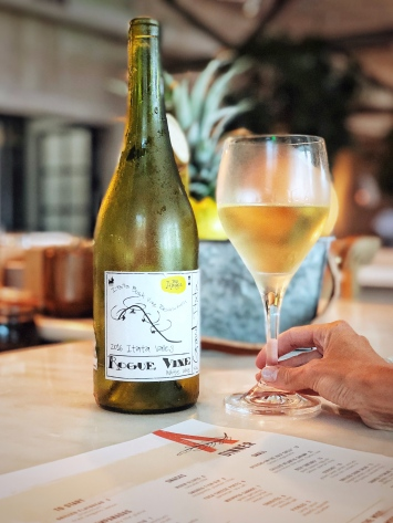 Today's Wine Wednesday post is her current favorite wine by the glass - a Moscatel/Riesling Blend from Itata Chile. Natural wines are an important part of the Amara list.