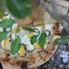 Peach pizza gets its close up during the photo shoot for Michael's forthcoming cookbook, Genuine Pizza.