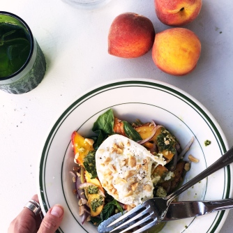 Creamy Burrata from Belgioiso melts as the perfect contrast to bright peaches.