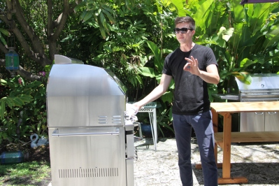 Dillion on the Lynx Grills Napoli Pizza Oven for Michael's Genuine Pizza cookbook shoot