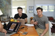 Dillion (left) and Brandon in cookbook shoot land.