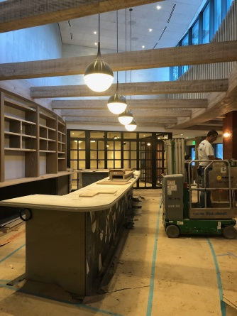 The state of affairs inside last week -- bar and private dining room buildout.